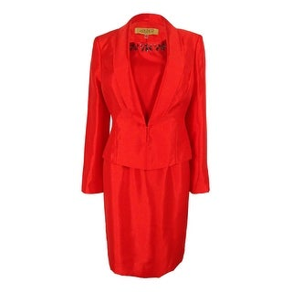 Kasper Women's Three-Button Satin Jacket and Dress Suit - Flame