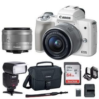 Canon EOS M50 15-45mm Mirrorless Digital Camera (White) with 64GB Flash Bundle