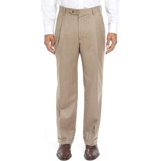 Ralph Lauren Neat Wool Double Pleated and Hemmed Dress Pants Tan 34W x 34L - 34