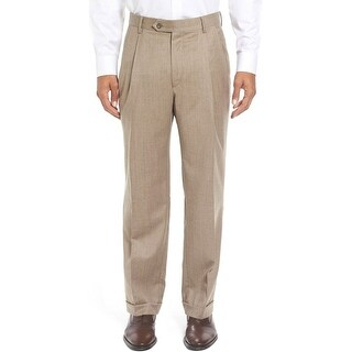 Ralph Lauren Neat Wool Pleated Front Dress Pants Tan 30 x 30
