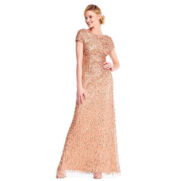 1f63bca4 Shop Adrianna Papell Women's Short Sleeve Sequin Beaded Gown Cowl Back,  Rose Gold, 14 - Free Shipping Today - Overstock - 24121126