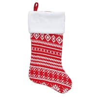 "22"" Red and White Rustic Lodge Knit Christmas Stocking with Faux Fur Cuff"