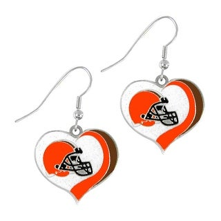 Cleveland Browns NFL Glitter Heart Earring Swirl Charm Set