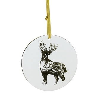 "4"" Gold and Ivory Woodland Reindeer Disc Christmas Ornament"