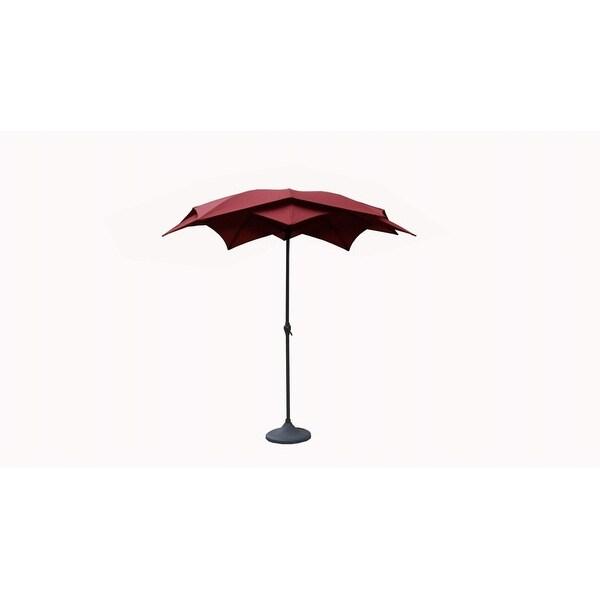 8.2' Outdoor Patio Lotus Umbrella with Hand Crank - Burgundy