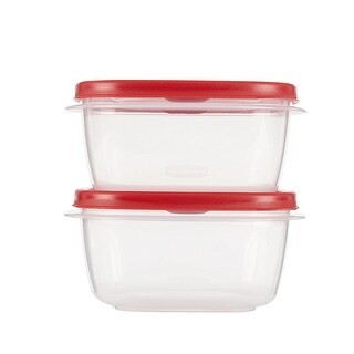 Rubbermaid Easy Find Lid Food Storage Container Square 5 Cup Value Pack of 4 Containers