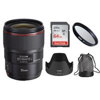 Canon EF 35mm f/1.4L II USM Lens with UV 72mm Filter and 64GB SD Card Bundle