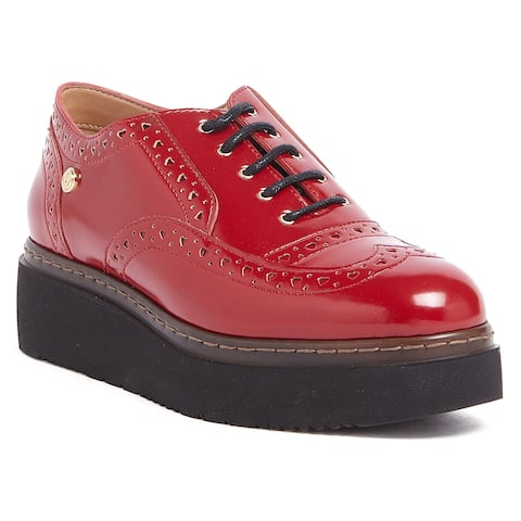 Love Moschino Red Lace up Platform Derby Shoes