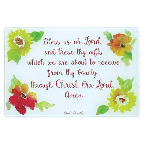 "12"" ""Bless Us Oh Lord"" Inspirational Dual Purpose Floral Glass Cutting Board"
