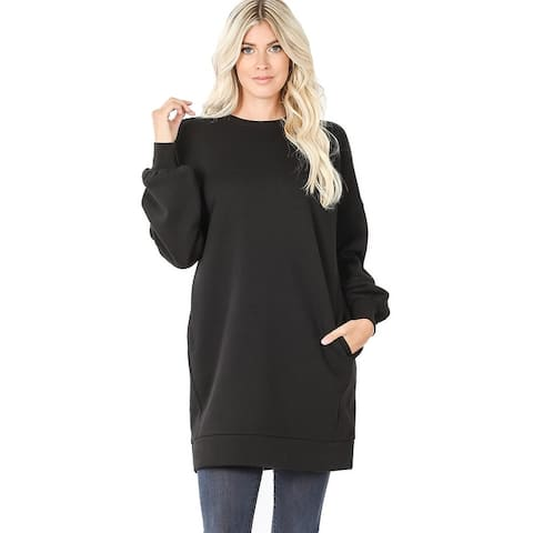 JED Women's Oversized Crewneck Tunic Pull-Over Sweatshirt