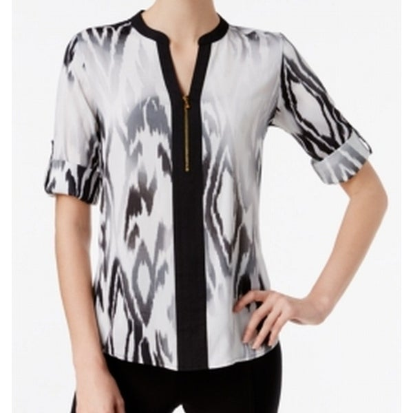 e4af2c3025 Shop Calvin Klein NEW White Womens Size Large L Zip-Front Animal Print  Blouse - Free Shipping On Orders Over  45 - Overstock.com - 20084339