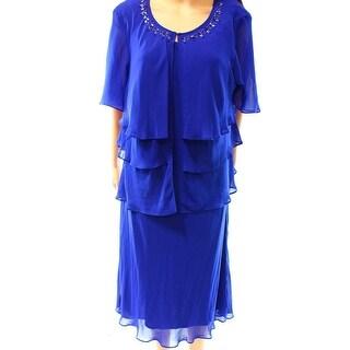 SL Fashions NEW Blue Women's Size 18W Plus 2-Piece Tiered Dress Set