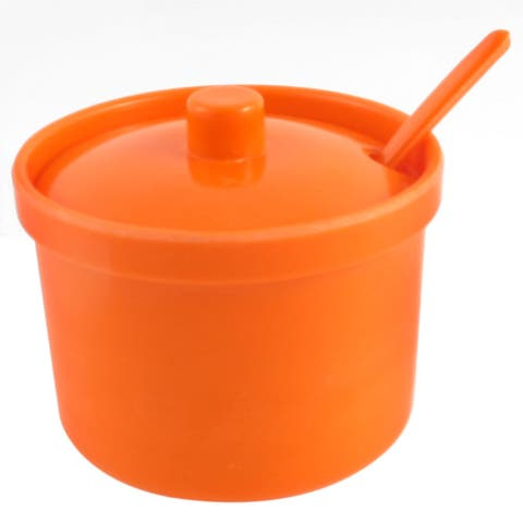 Spice Salt Pepper Condiment Jar Container Orange w Spoon