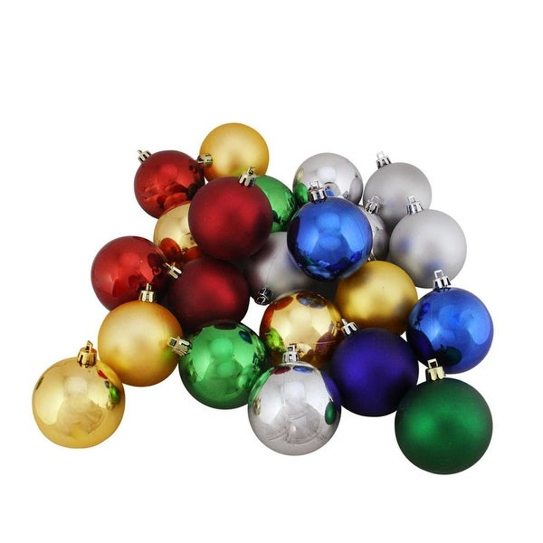 "24ct Shatterproof Traditional Multi-Color Shiny and Matte Christmas Ball Ornaments 2.5"" (60mm)"