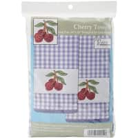 "Tobin Stamped For Embroidery Kitchen Towels 16""X28"" 2/Pkg-Cherry"