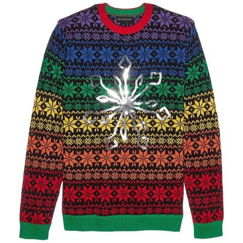 Blizzard Mens Sweater Red Size Medium M Crewneck Rainbow Light Up