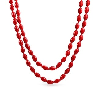 Bling Jewelry Reconstituted Coral Long Strand Necklace 46 Inches - Red