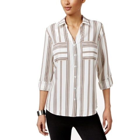 NY Collection Ivory Women's Stripe Button Down Shirt