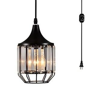 Plug in crystal black pendant light