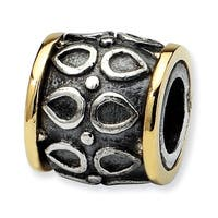 Sterling Silver & 14k Reflections Barrel Bead