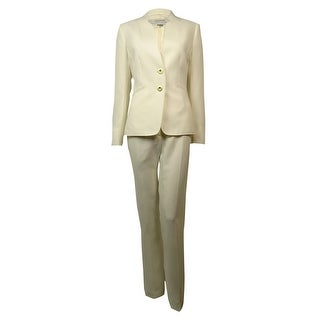 Tahari Women's Japan Joy Welt Pocket Crepe Solid Pant Suit - Cloud - 4