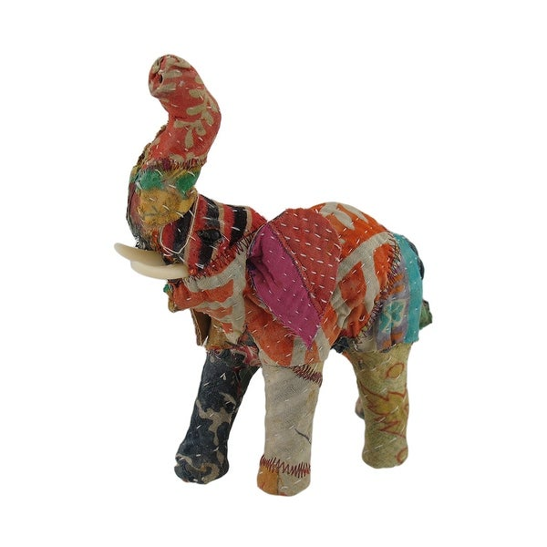 Vintage Sari Fabric Covered Paper Mache Elephant Sculpture 7 in. - 7.5 X 6.5 X 3 inches