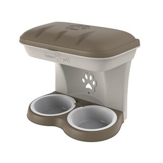 Elevated Dog Food & Water Stand With Storage - Wall Mountable - Large