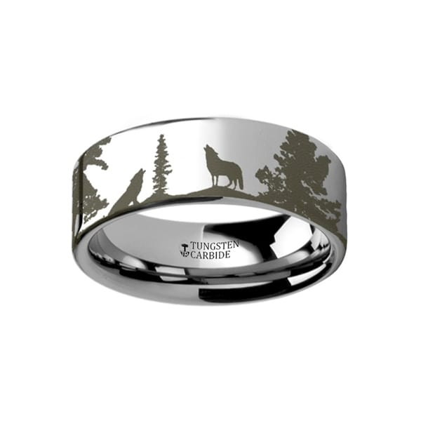 THORSTEN - Animal Landscape Scene Wolf Wolves Ring Engraved Flat Tungsten Ring - 4mm