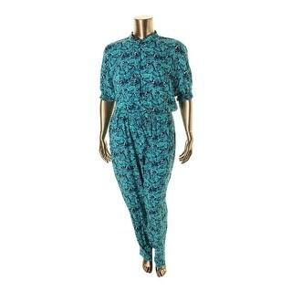 Marina Rinaldi Womens Printed Short Sleeves Jumpsuit