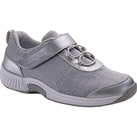 Orthofeet Women's Joelle Walking Sneaker Grey Synthetic/Spandex
