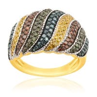 1.05 Carat Round Cut Multi Color Diamond Designer Ring