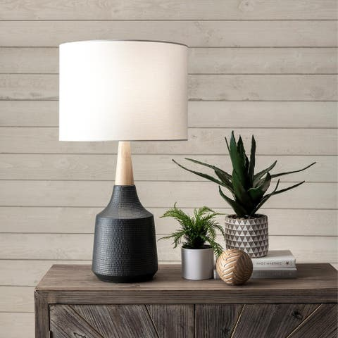 "nuLOOM 28-inch Jenna Black Ceramic & Wood Linen Shade Table Lamp - 17"" h x 8"" w x 8""d"