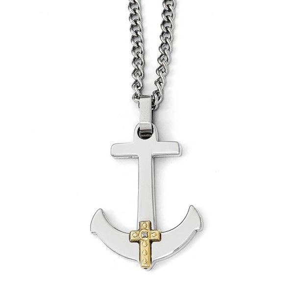 Chisel Stainless Steel Polished with 14k Gold Diamond Cross Anchor Necklace - 24 in