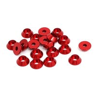 M3 Aluminium Alloy Cone Shaped Round Cup Fender Bumper Washer Red 20pcs