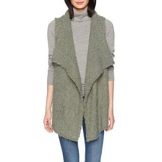 Kensie Olive Green Womens Size Medium M Bobble Open-Front Fur Vest