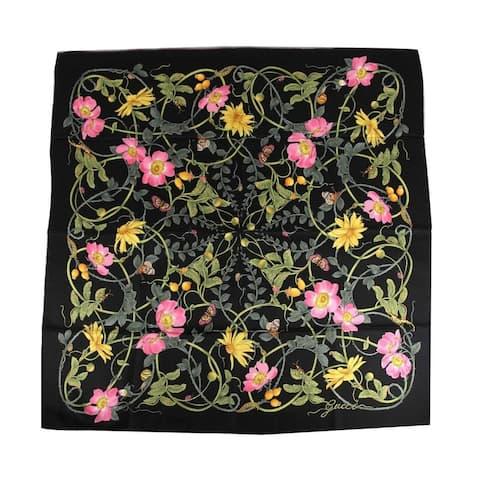 Gucci Women's Black Silk Vine Floral Print Large Scarf 494604 1071
