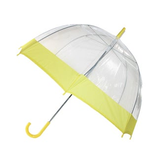 iRain Clear Bubble Dome with Colored Trim Hook Handle Umbrella (Option: YELLOW)