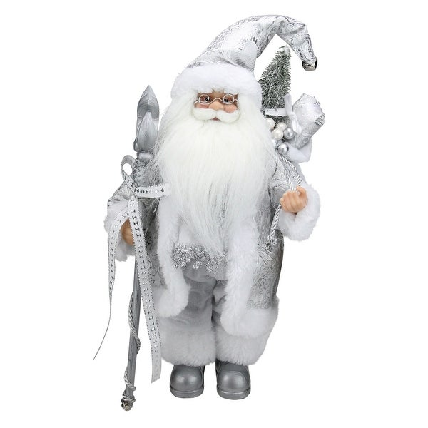 Shop 12 Quot Standing White And Silver Santa Claus With Staff