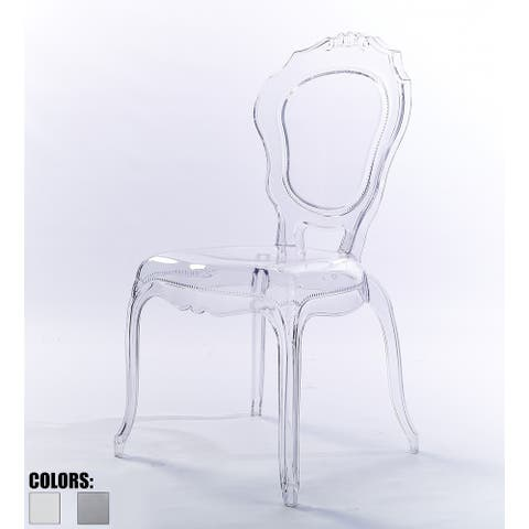 2xhome Stacking Transparent Crystal Designer Molded Plastic Side Dining Chairs For Desk Accent Bedroom Kitchen Indoor Outdoor