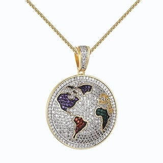 """Iced Out World Pendant Iced Out Lab Diamonds Stainless Steel Necklace 24"""""""