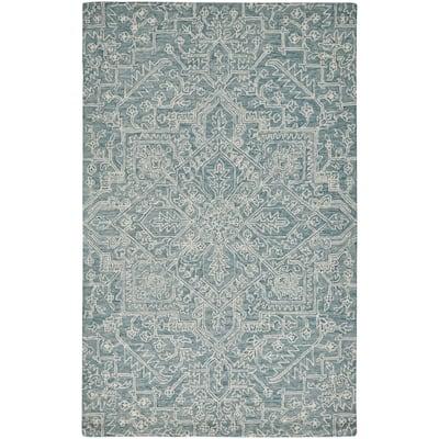 Natal Modern Minimalist Rug, Floral Geometric, Teal Blue, 8ft x 10ft Area Rug - 8' x 10'/Surplus