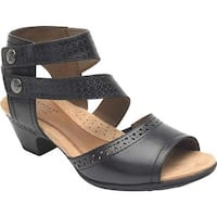 Rockport Women's Cobb Hill Abbott 2 Piece Cuff Sandal Black Leather