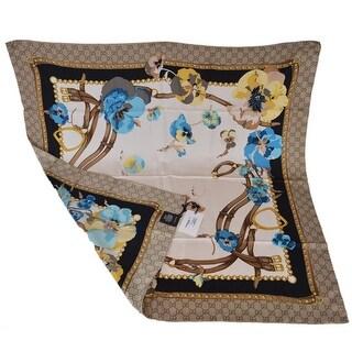 """Gucci Women's 508796 100% Silk Blue Pansie BLOOMS GG Twill Scarf - 35"""" x 35"""""""