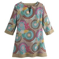 Women's Tunic Top - Breezy Circles 3/4 Length Sleeve Blouse