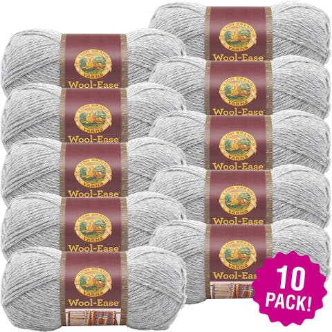 Lion Brand Wool Ease Yarn - 10/Pk-Grey Heather - Grey