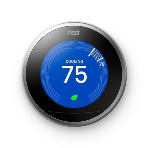 Nest (T3007ES) Learning Thermostat, Easy Temperature Control, Stainless Steel (Third Generation)