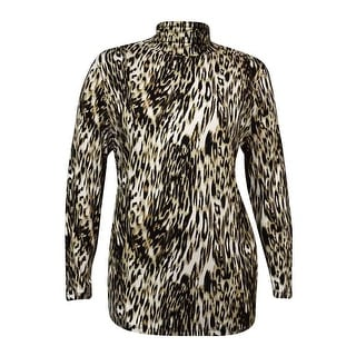 JM Collection Women's Turtleneck Printed Knit Jersey Top - s