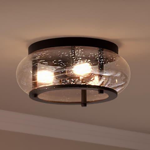 "Luxury Utilitarian Ceiling Light, 7""H x 16""W, with Coastal Style, Black Bronze, UQL3301 by Urban Ambiance"