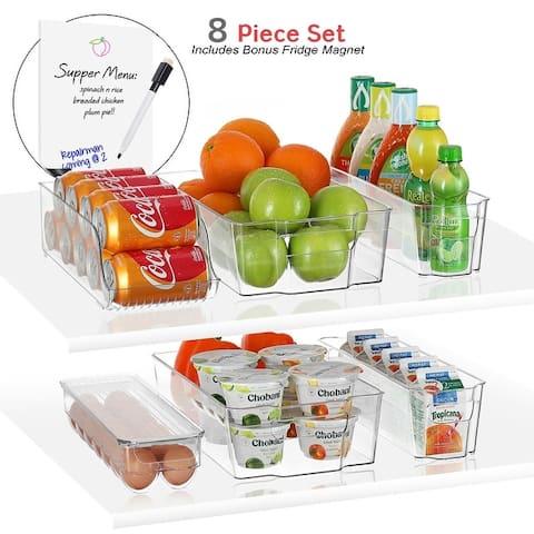 StorageBud 8 Piece Refrigerator Organizer Bins - Stackable Freezer Organizer - Clear Refrigerator Organizer - Acrylic Fridge Bin