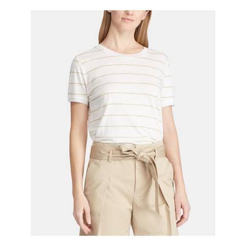 RALPH LAUREN Womens Beige Striped Short Sleeve T-Shirt Top Size L